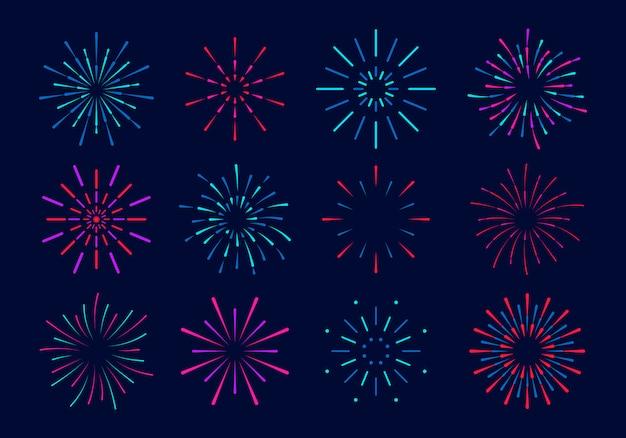 カラフルな花火のセットです。星と火花と花火のお祝い爆発。パーティー、フェスティバル、ごちそう、色とりどりの空、爆発星 Premiumベクター