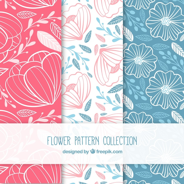 Set of colorful flower patterns in hand drawn\ style