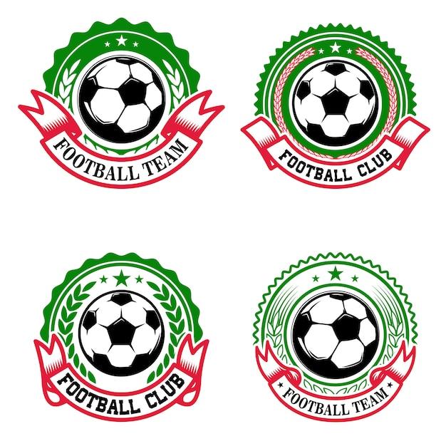 Набор красочных эмблем футбольного клуба. футбольный клуб. элемент для логотипа, этикетки, эмблемы, знака. иллюстрация Premium векторы