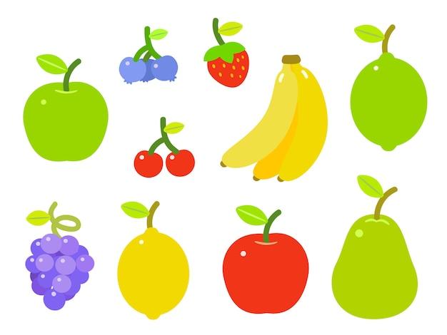 カラフルなフルーツ、白い背景に設定のセット。 Premiumベクター