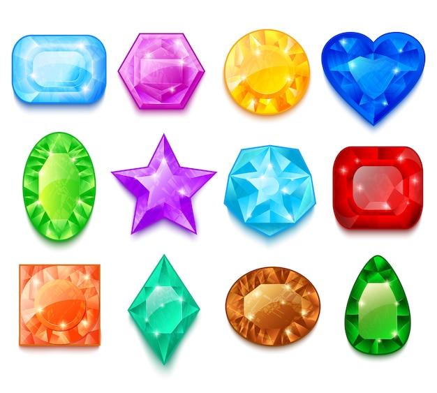Набор красочных драгоценных камней Бесплатные векторы