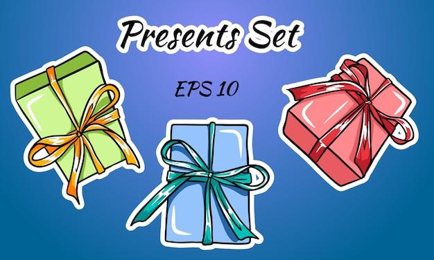 활과 리본으로 다채로운 선물 상자 세트. 프리미엄 벡터