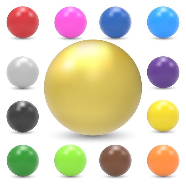 カラフルな光沢のある球のセット Premiumベクター