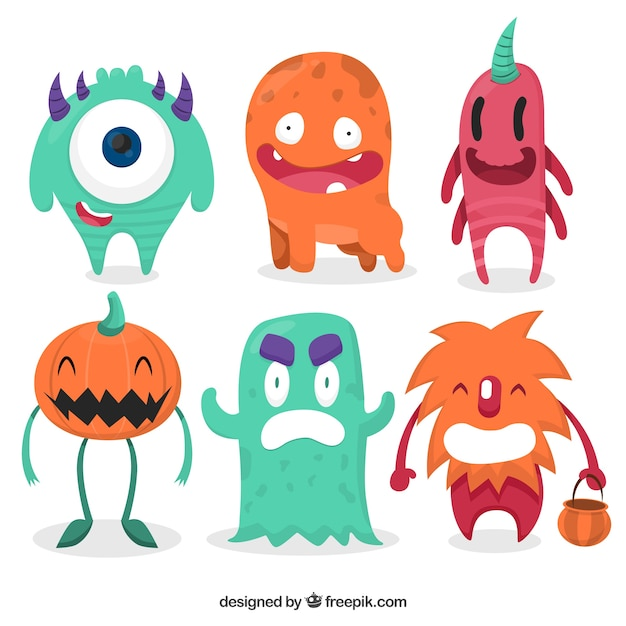 set of colorful halloween monsters Free Vector