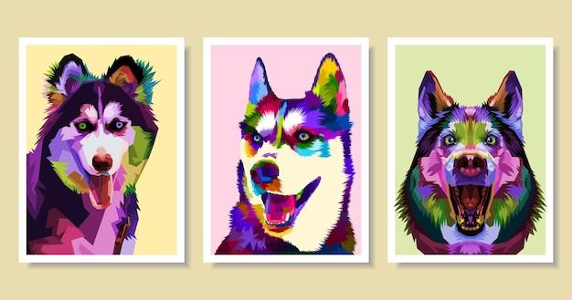 팝 아트 스타일에 화려한 허스키 강아지의 집합입니다. 프리미엄 벡터