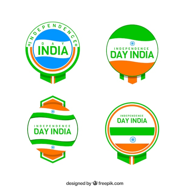 Set of colorful india independence day insignias