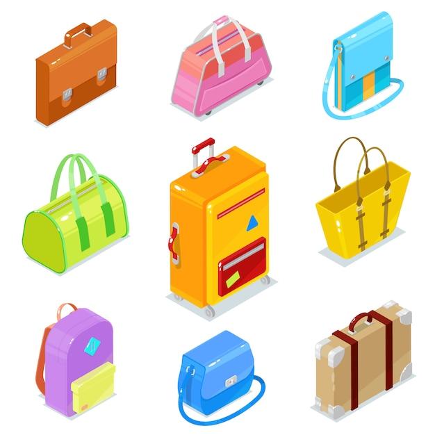 白地にカラフルな等尺性バッグansスーツケースのセット Premiumベクター