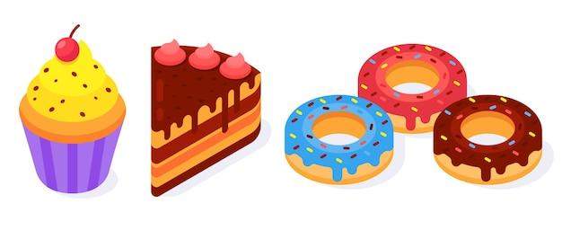 다채로운 아이소 메트릭 베이커리 제품 아이콘 도넛, 케이크, 머핀의 집합입니다. 가장 좋아하는 음식. 프리미엄 벡터