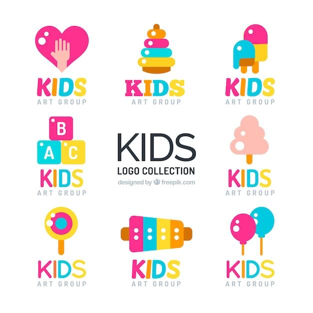 set of colorful kids logos in flat design vector premium