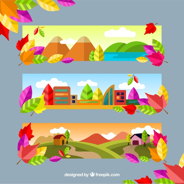 Set of colorful landscapes