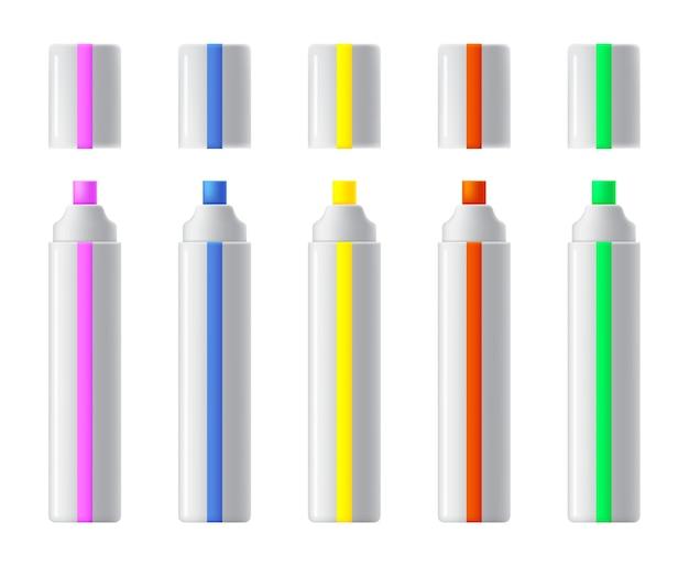 Набор красочных маркеров. реалистичные маркеры, фломастеры или коллекция ручек для дизайна дома, офиса и школы, альбомы для вырезок. Premium векторы