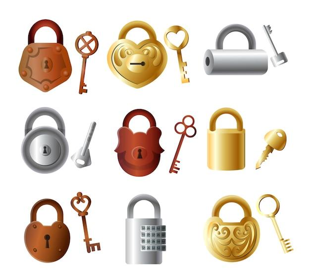 キー、ゴールド、シルバー、ブロンズカラーのカラフルな金属製南京錠のセット Premiumベクター
