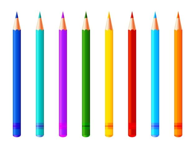 Набор красочных карандашей. реалистичные маркеры, фломастеры или коллекция ручек для дизайна дома, офиса и школы, альбомы для вырезок. дети и художник яркие инструменты рисования. Premium векторы