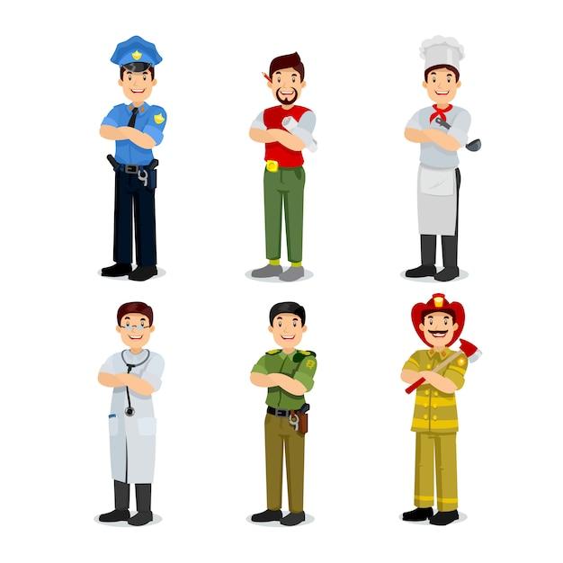 カラフルな職業男フラットスタイルアイコン警官、アーティスト、炊飯器、軍事、医者、消防士のセットです。さまざまな職業のキャラクター Premiumベクター