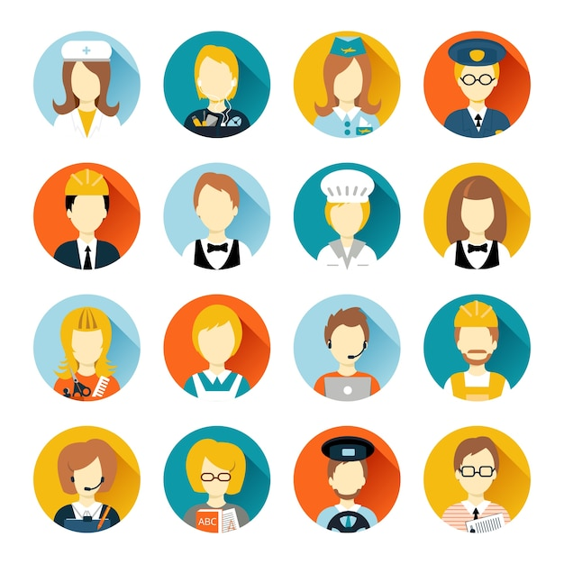 Set of colorful profession people flat style\ icons in circles with long shadows vector illustration