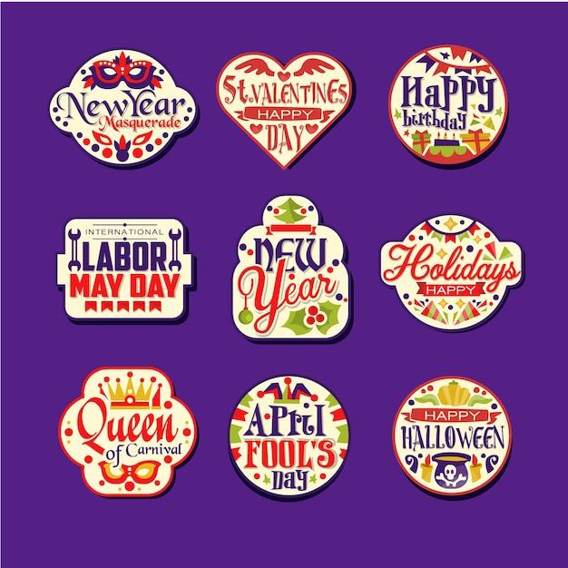 화려한 복고풍 축제 로고 또는 레이블 집합입니다. 인사와 함께 휴가 스티커에 빈티지 장식품입니다. 새해, 세인트 발렌타인 데이, 생일 축하, 노동 메이 데이, 카니발. 프리미엄 벡터