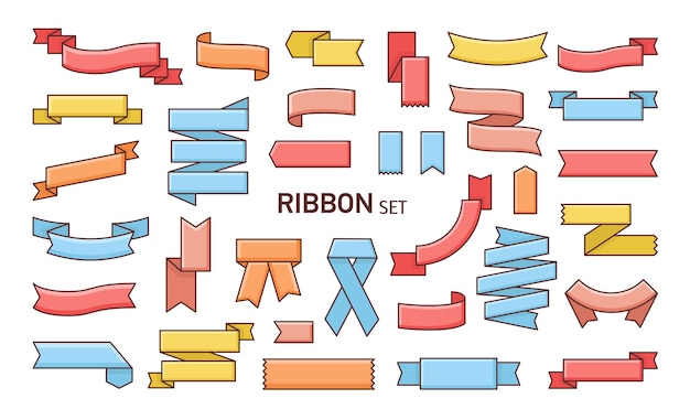 Набор красочных лент разной формы. Premium векторы