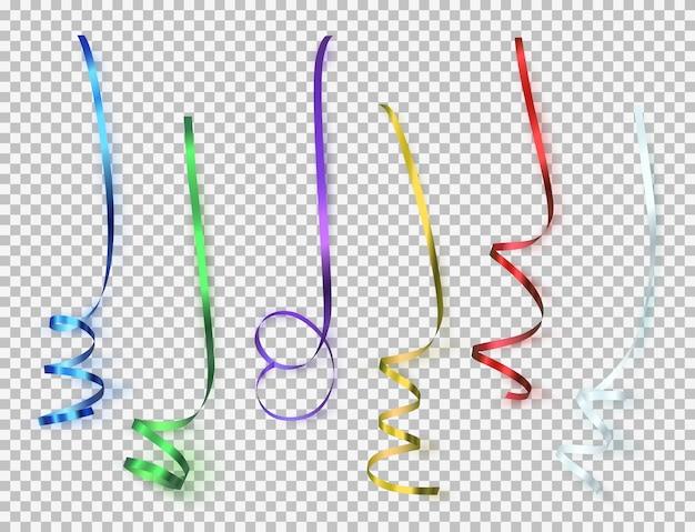 Набор красочных лент на прозрачном фоне. Premium векторы