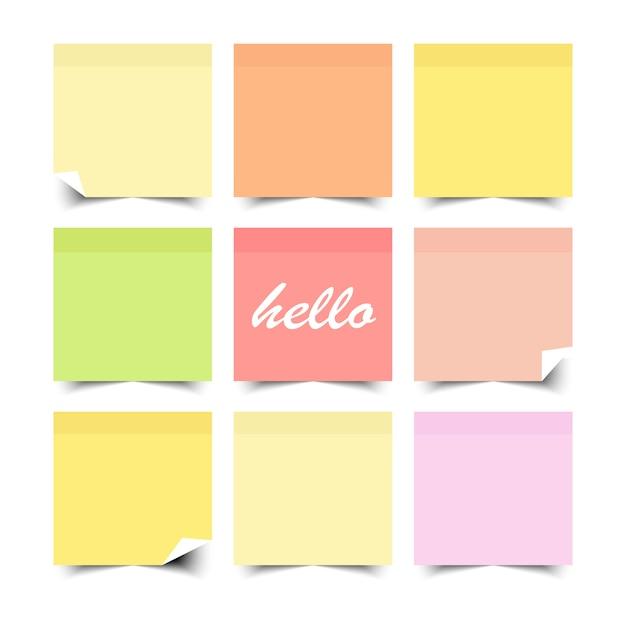 플랫 컬러 디자인으로 다채로운 스티커 메모의 집합입니다. 삽화. 프리미엄 벡터