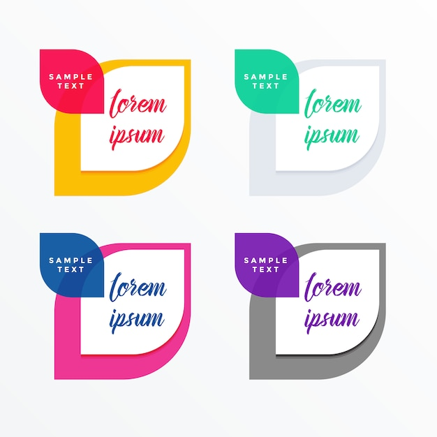 set of colorful tags banner with text space Free Vector