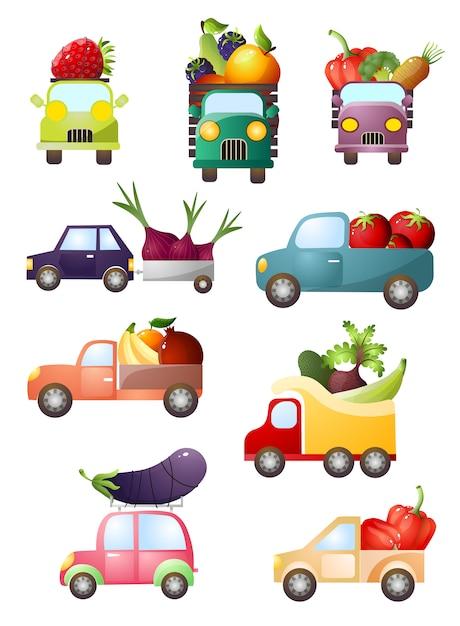 Набор красочных игрушечных машин со свежими овощами и фруктами Premium векторы