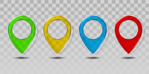 Набор красочного прозрачного стекла значок указателя карты. Premium векторы