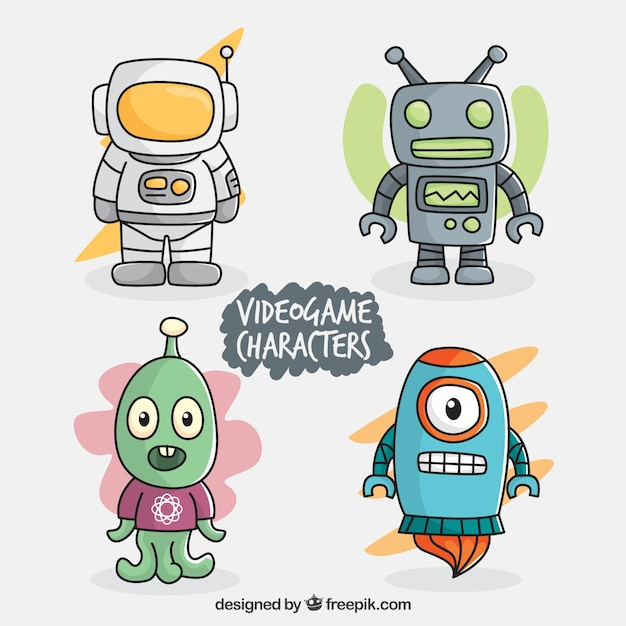 Set of colorful video game characters Free Vector