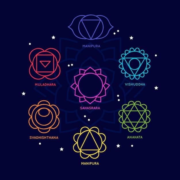 Набор красочных концепции чакр тела Бесплатные векторы