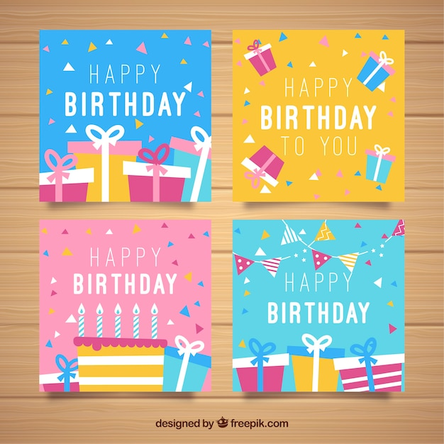 Set of colourful square birthday cards in flat design Free Vector