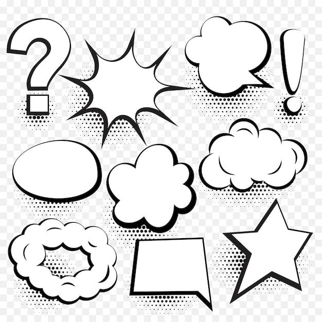 Набор комиксов речи пузырь в мультяшном стиле Бесплатные векторы