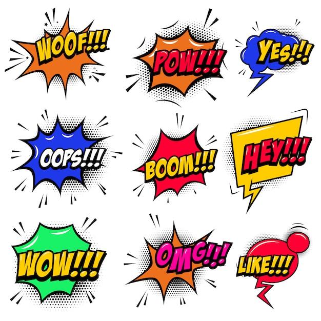 Набор комиксов стиль речи пузыри со звуковыми текстовыми эффектами. элемент для плаката, открытки, баннера, флаера. иллюстрация Premium векторы