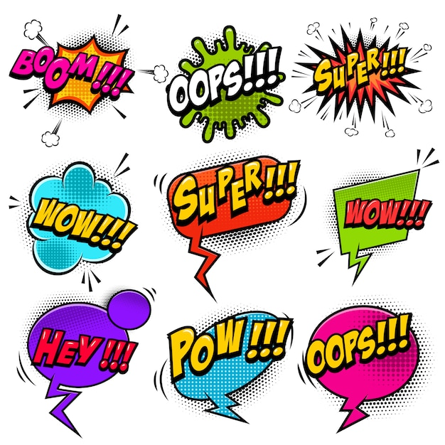 Набор комиксов стиль речи пузыри со звуковыми текстовыми эффектами. элементы для плаката, футболка, баннер. образ Premium векторы