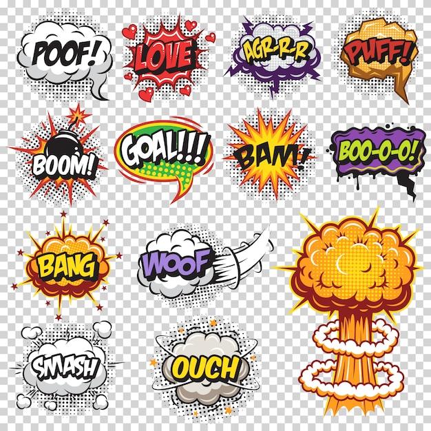 漫画のスピーチと爆発の泡のセットです。透明な背景にテキスト色。 無料ベクター