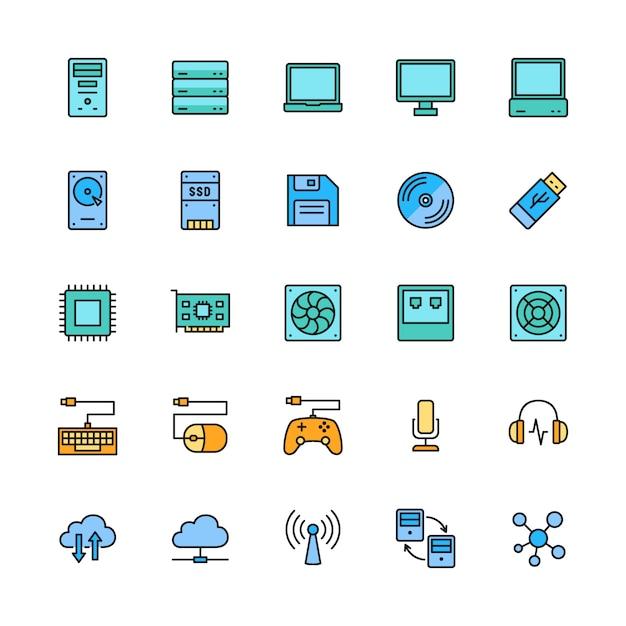 Набор компьютерных компонентов цвет линии иконы. сервер, ноутбук, монитор и многое другое. Premium векторы