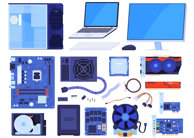 Комплект компьютерных частей. корпус, монитор, ноутбук, материнская плата, процессор, видеокарта, оперативная память, клавиатура, мышь, жесткий диск, ssd, провода. изолированная иллюстрация Premium векторы