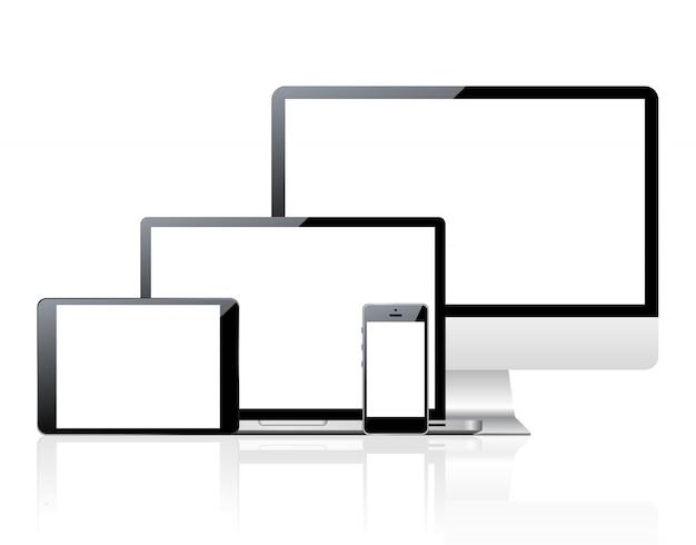 空白の画面を持つコンピューターとデバイスのセット Premiumベクター