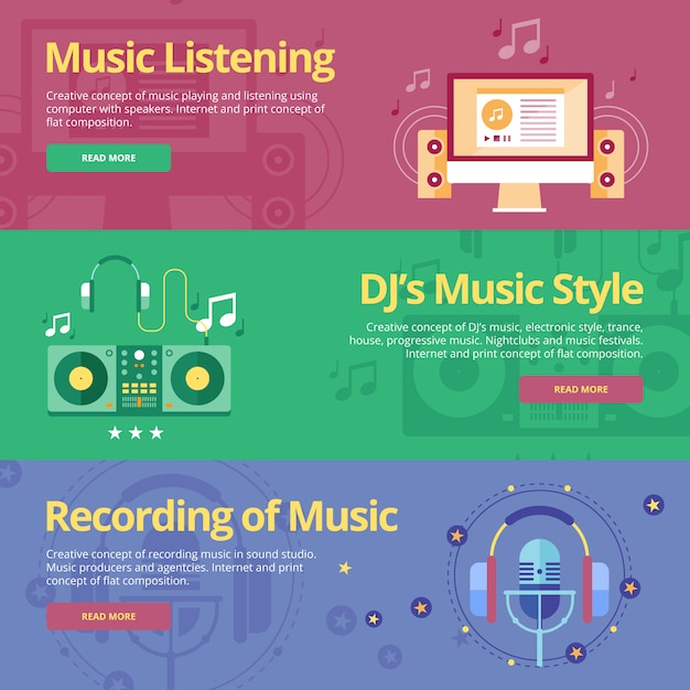 Набор концепций для прослушивания музыки, музыкального стиля диджея, записи. концепции для веб-сайтов и печатных материалов Premium векторы