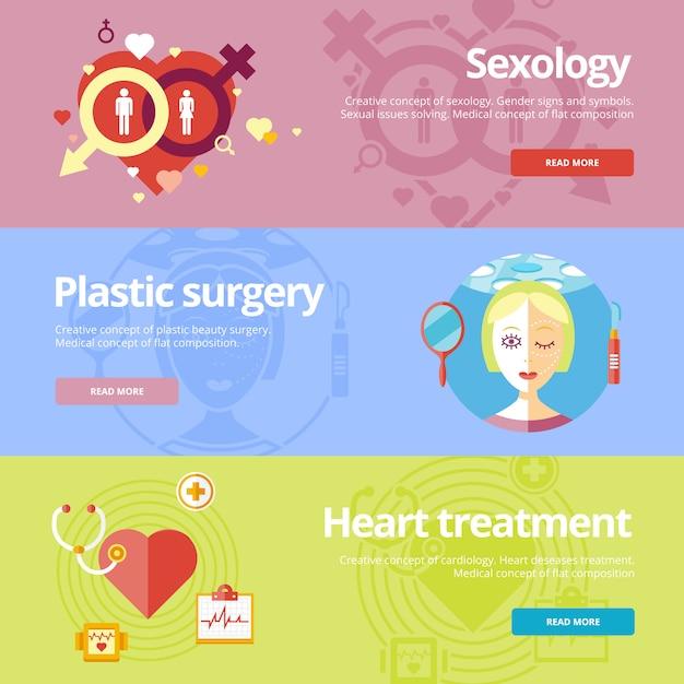 성학, 성형 수술, 심장 치료에 대한 개념 집합입니다. 웹 및 인쇄 자료에 대한 의료 개념. 프리미엄 벡터