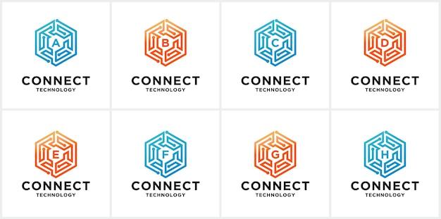 Набор шаблонов логотипов connect Premium векторы