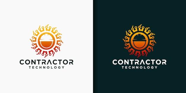 Набор шаблонов логотипа подрядчика Premium векторы