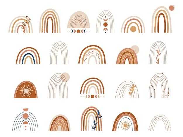 Набор медных и коричневых радуг. бохо радуга иллюстрация Premium векторы