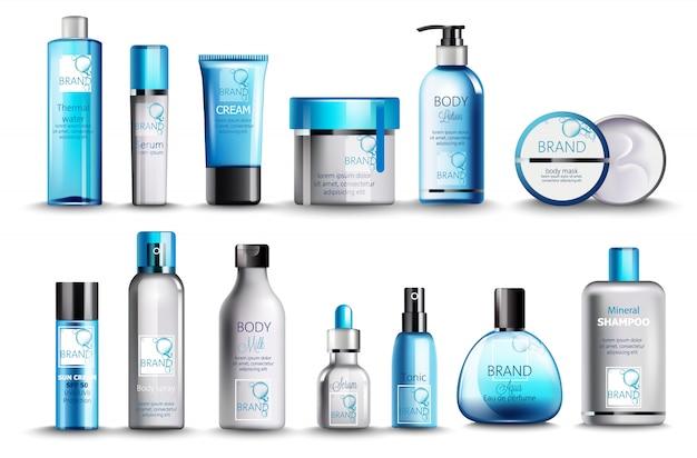 温泉水、美容液、クリーム、ローション、ボディマスク、ボディスプレー、牛乳、強壮剤、香水、ミネラルシャンプーの化粧品のセット。現実的。製品の配置。青色 無料ベクター