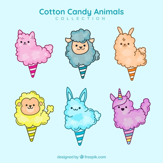 Set of cotton candy with animal shapes