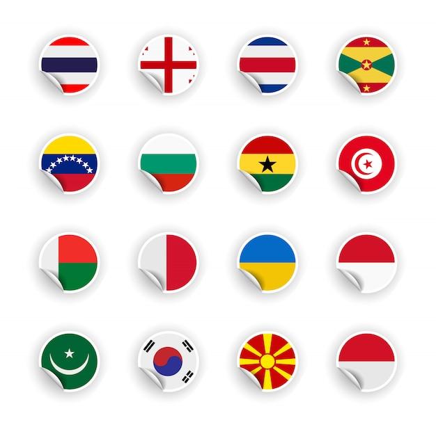 Набор флаг страны в наклейках Premium векторы