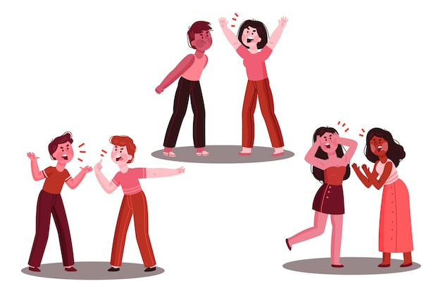 Набор иллюстраций пары конфликтов Бесплатные векторы