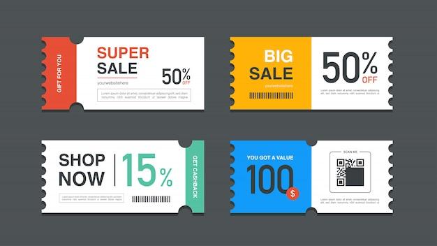 웹 사이트, 인터넷 광고, 소셜 미디어 또는 쿠폰에 대한 쿠폰 프로모션 판매 세트. 프리미엄 벡터