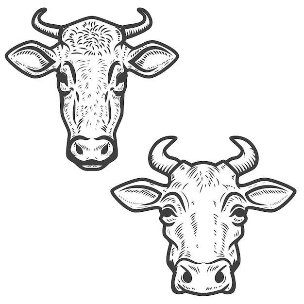 白の牛の頭のセット Premiumベクター