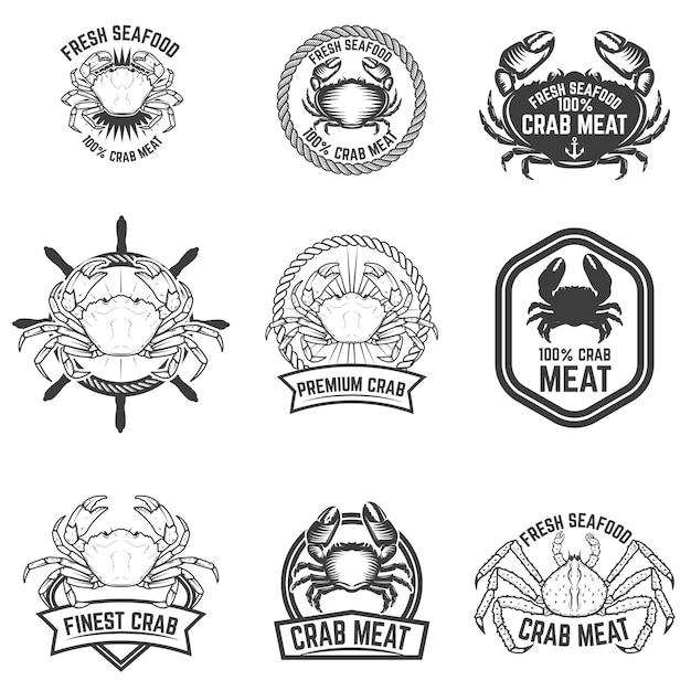 カニ肉のラベルのセット。新鮮なシーフード。ロゴ、ラベル、エンブレム、記号の要素。図。 Premiumベクター