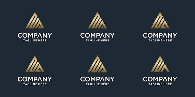創造的な抽象的なモノグラム文字naロゴテンプレートのセットです。贅沢、エレガント、シンプルなビジネスのためのロゴタイプ Premiumベクター