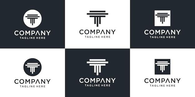 Набор творческих абстрактных монограмм буква t дизайн логотипа вдохновение Premium векторы